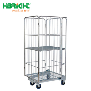 Hand push folding steel warehouse logistic cart