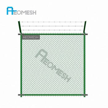 Made in Guangzhou Professional Factory Barbed wire at top Single Arm Chain link fence