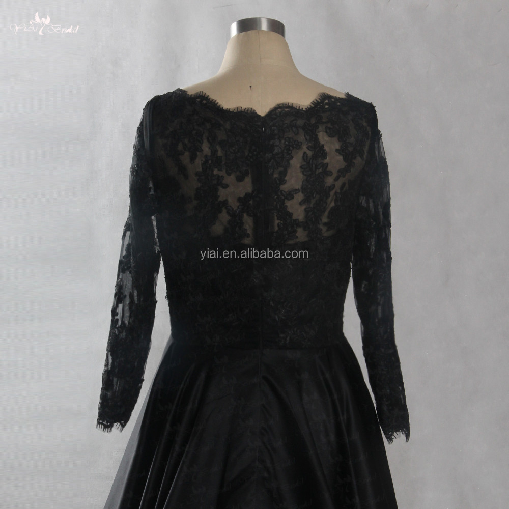 fe6b0920146 LZF048 Elegant Black Lace Evening Dresses 2018 Ball Gown Short Front Long  Back Evening Gown Prom
