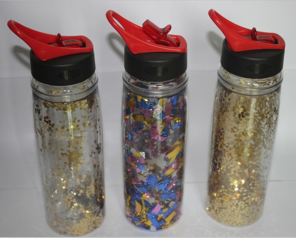 2016 new products double wall glitter paper insert drinking water bottle