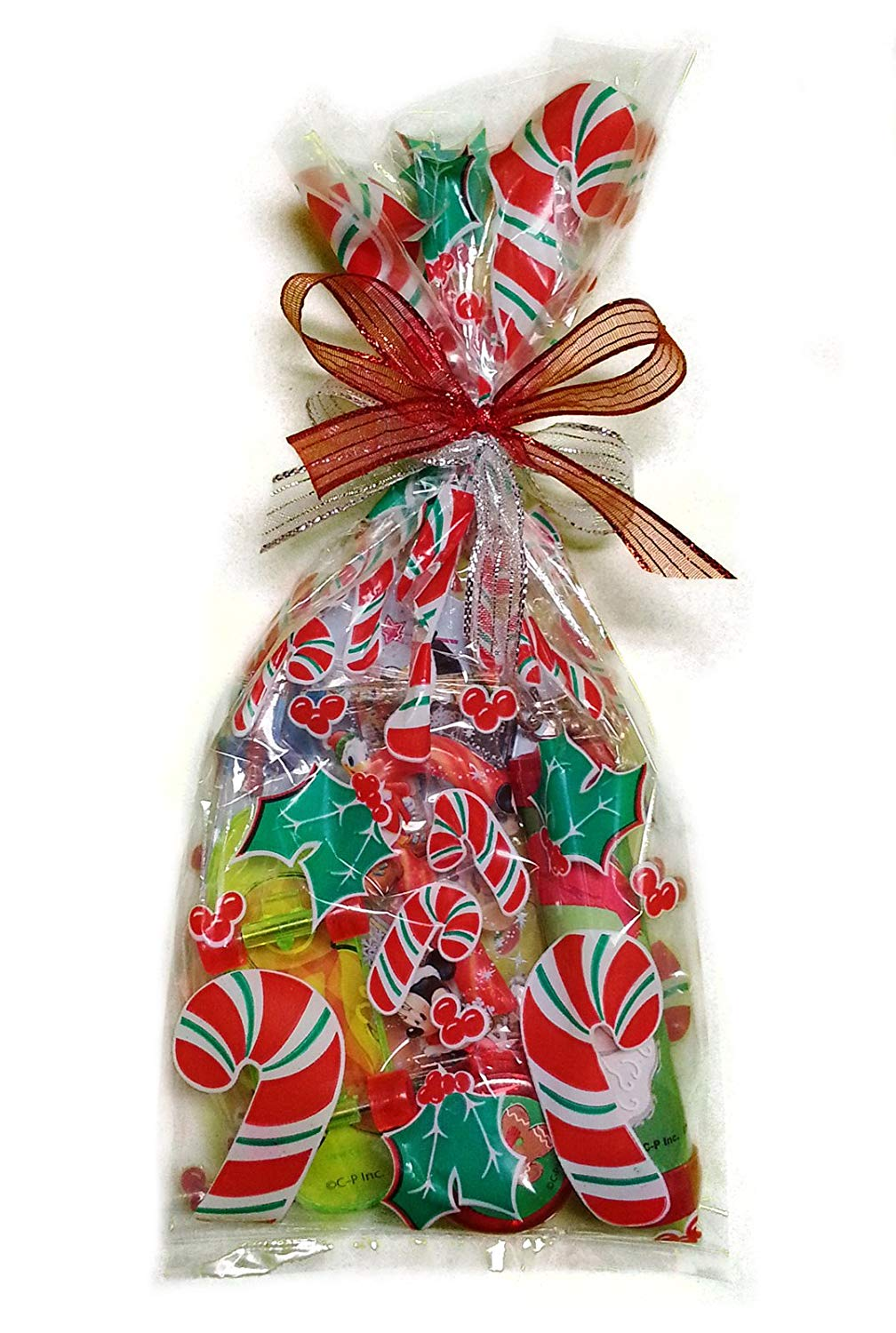 Christmas Cello Favor Bag Filled w 8pc Holiday Treats Kids Gift Bags, 3 Pack