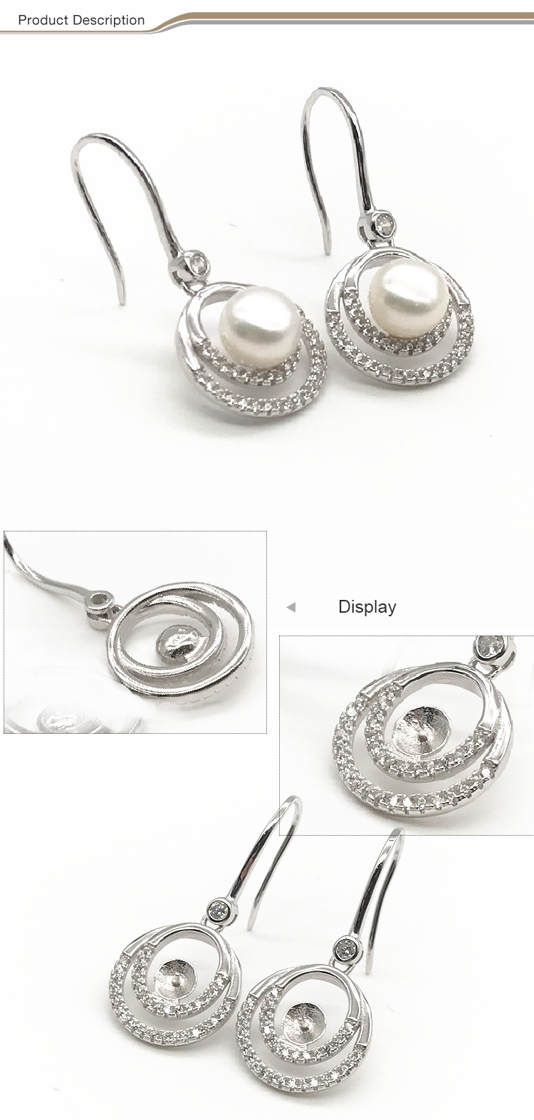 2019 wholesale fashionable 925 sterling silver pearl Earrings jewelry women fashion earring
