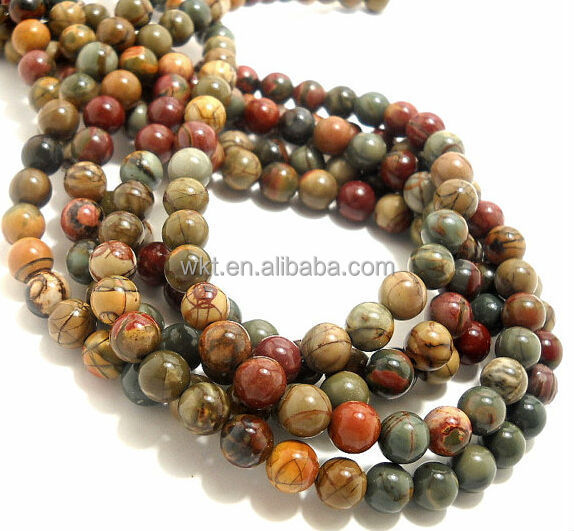 In stock!! Red Creek Jasper, Round, Smooth, Gemstone Beads, 8mm Picasso beads WT-GJ006