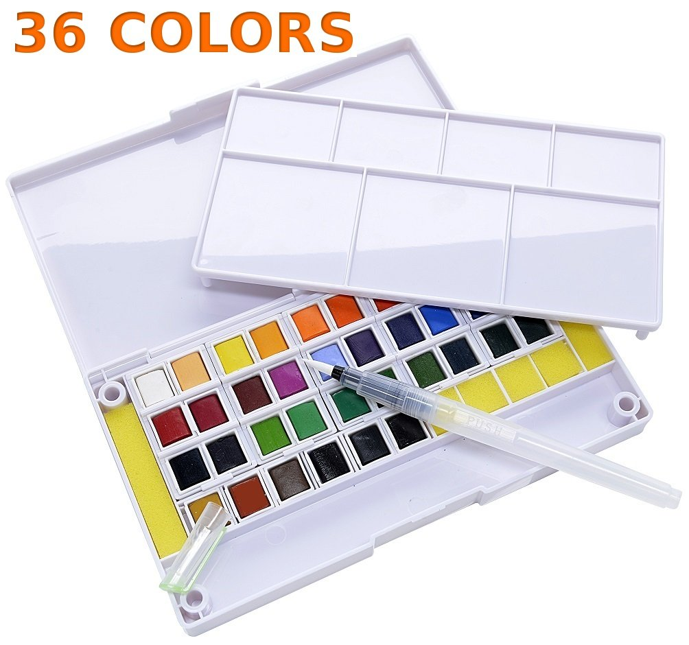 36 Watercolor Paint Set Portable Travel Water Color Paint Set Includes Water Brushes Sponges Mixing Palette (36)
