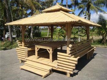 Jardin Bambou Gazebo Avec Bambou Toit,1 Table À L\'intérieur - Buy ...