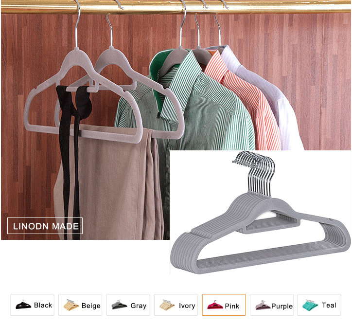 100 Pack Premium Multinational Tier Ultra Slim Anti-Slip Grey ABS Cloth Hangers Velvet