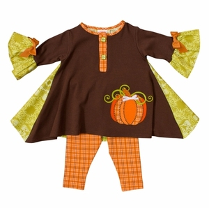 2017 infant baby girls Halloween clothes toddler girl pumpkin applique ruffle loose tunic and leggings set kids holiday clothing