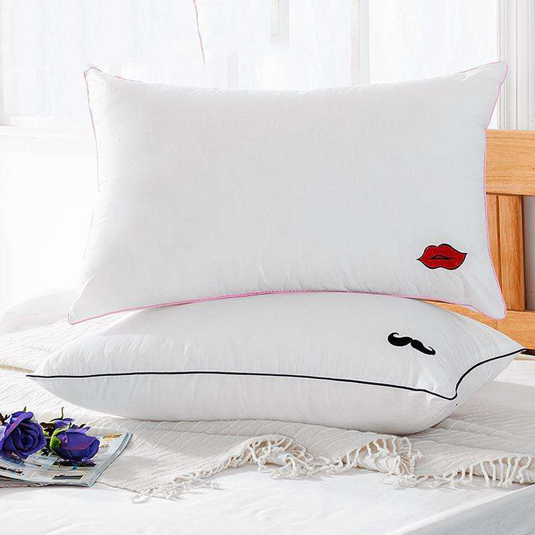 cotton weave embroidered sponge health bed pillow