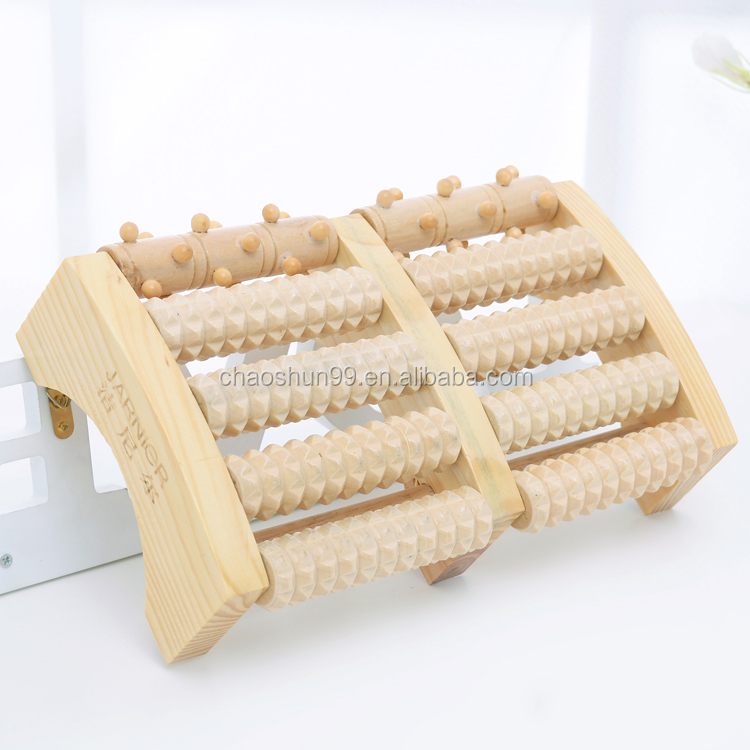 Hot selling wooden multiple rolling bead foot body massager