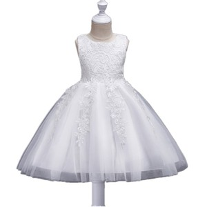 BH029 Flower Girls Wedding Dress Lace Appliques Birthday Party Ball Gown Back Bow For Kids Frocks Design 2018