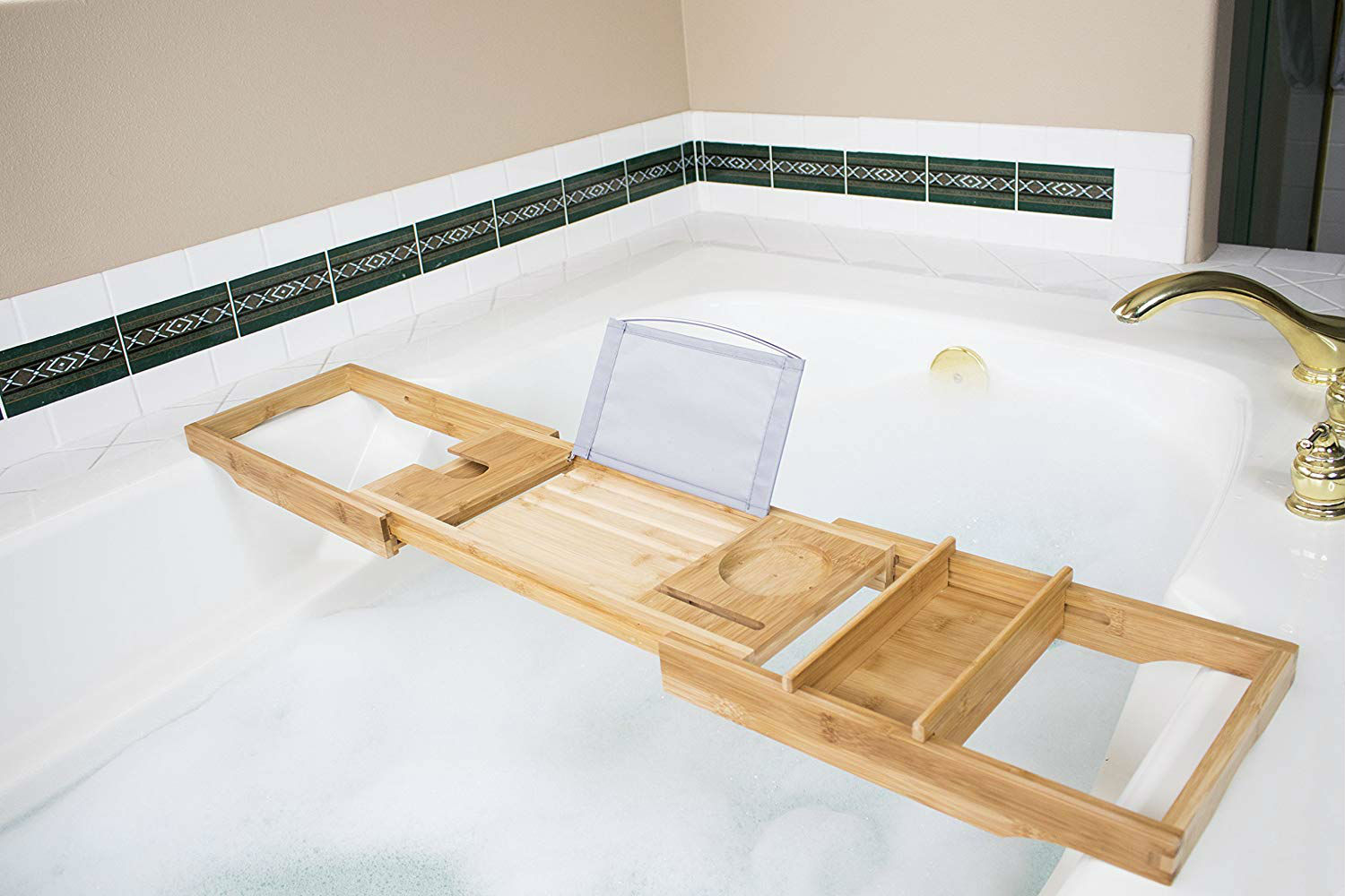Handgefertigter Bath Caddy mit Weinhalter Bambus Badewanne Caddy Tablett