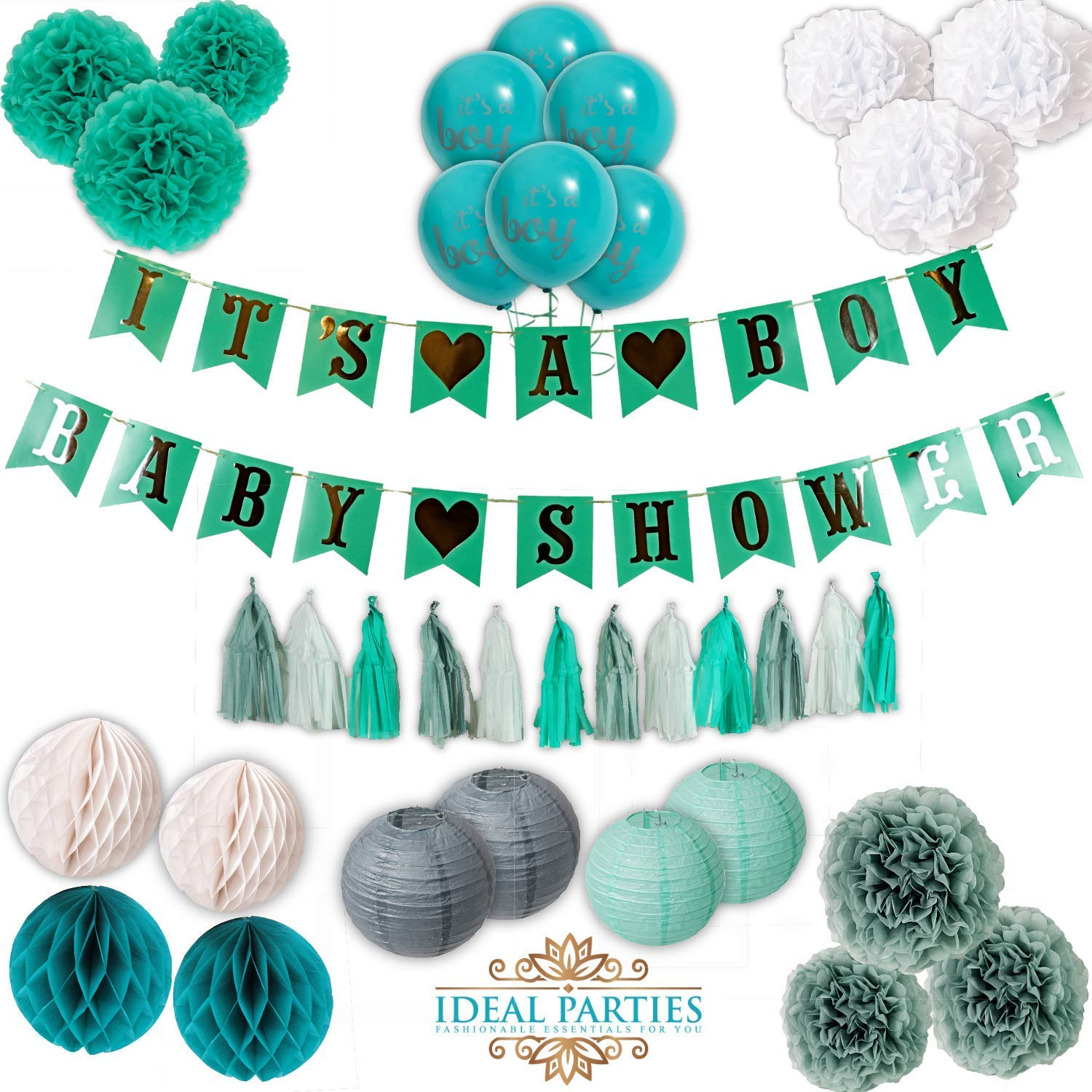 Teal and Grey Baby Shower Decorations for Boy, Easy Set up Flower pom poms, It's a Boy Banners, Balloons, Honey Comb Balls, Lanterns in Teal/Grey/Silver/White Party Unique Baby Shower Set!!