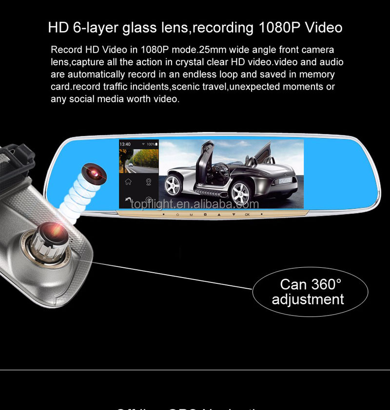 "6.86"" Touch Screen Rearview Mirror Android 4.4 Car DVR Dual View Car Camera GPS"