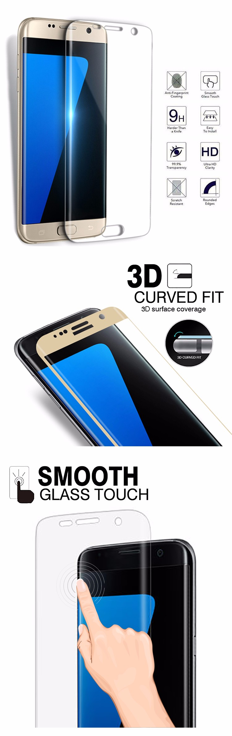 Electroplating full cover cell phone edge to edge tempered glass for samsung galaxy s6 edge