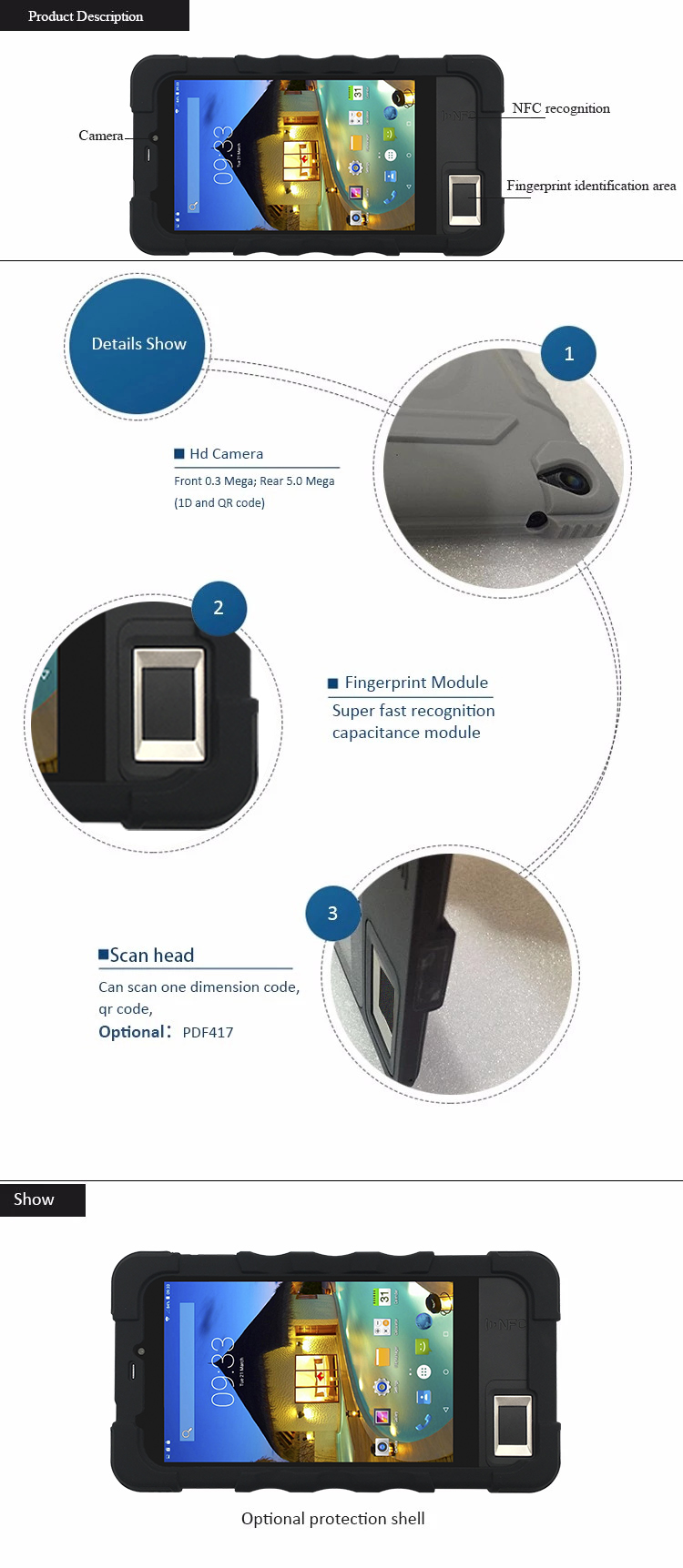 FP07  Mobile Android Tablet Biometric Time Attendance System with Fingerprint Scanner