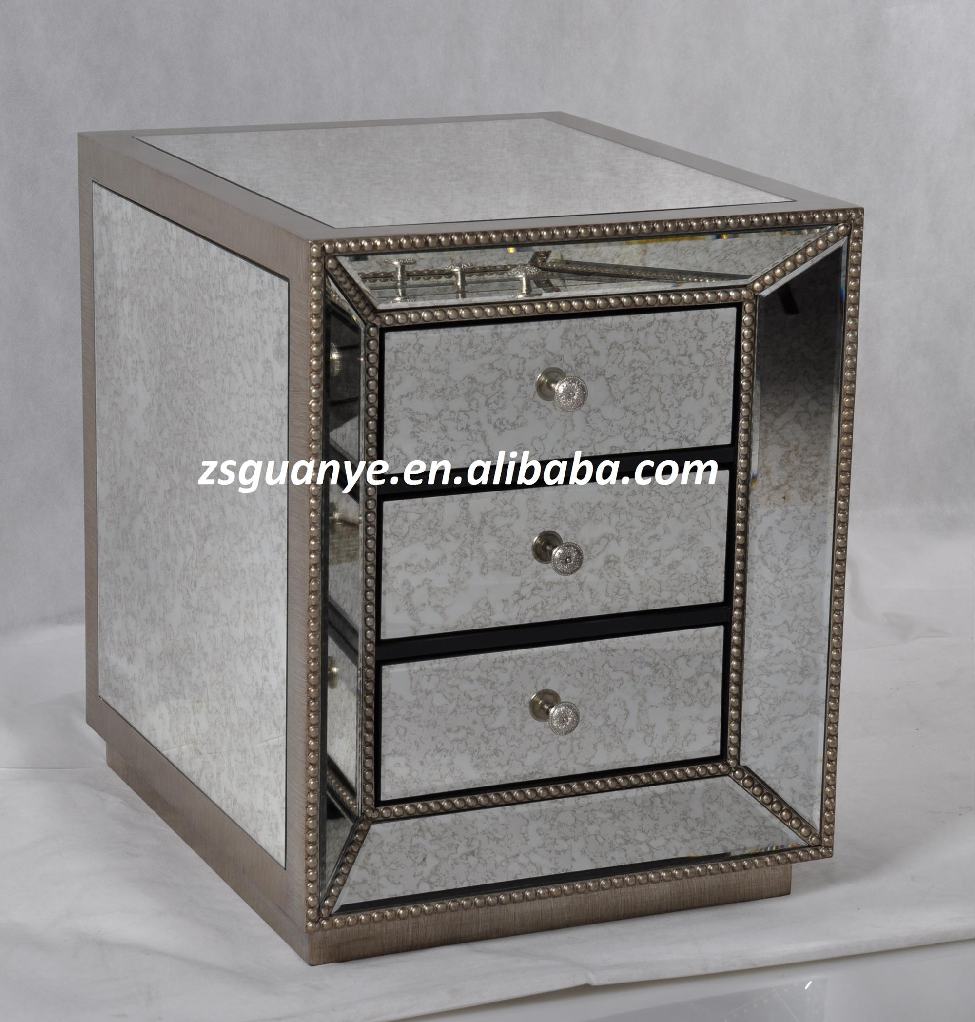 Vintage Luxury 3 Drawers Antique Gold Beading Mirror End Tables Nightstand Buy Glass Mirror Bedside Tables Antique Gold Night Stand 3 Drawer Mirror