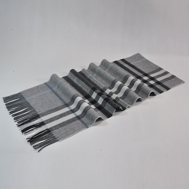 Multi colours checked fringed chunky custom merino cashmere wool scarf