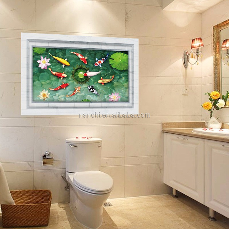 3d suelo pegatinas de estanque de peces azulejo de ba o for Estanque para bano