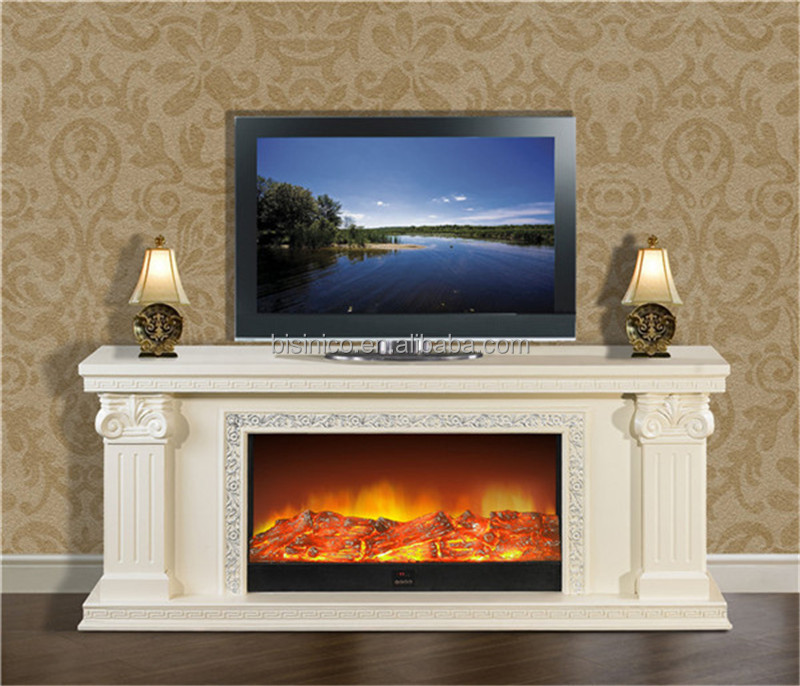 Italy white tv stand heater insert fireplace huge frame for Decoration foyer electrique et television