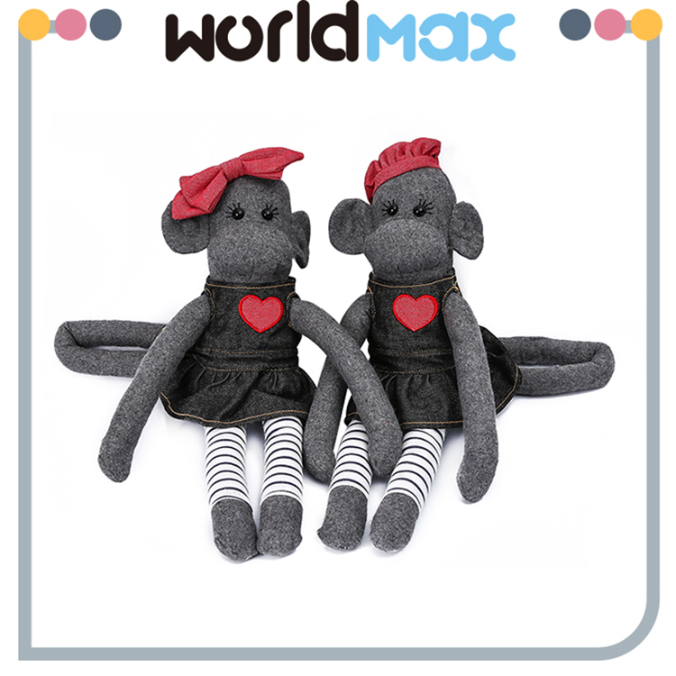 Various Styles Promotional Gray Monkey Lovely Baby Stuffed Toy