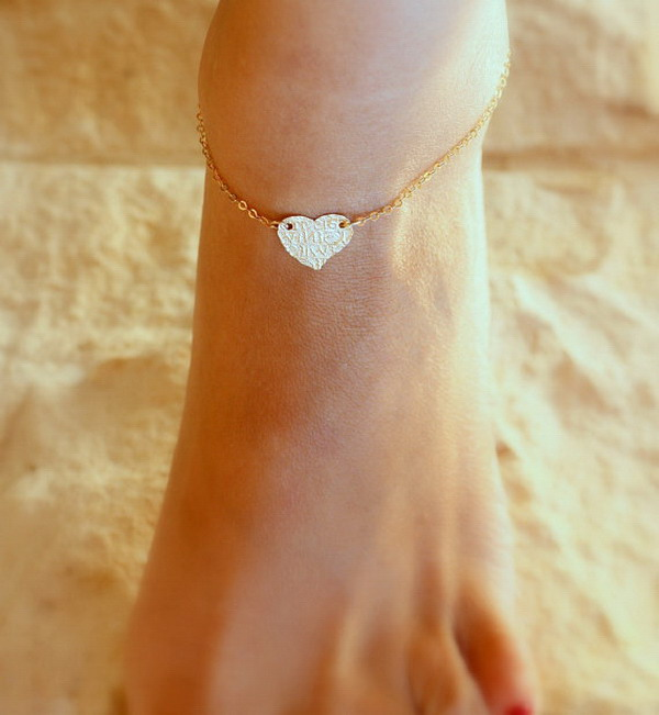 Fashion Customize Gold Heart Letters Engraved Anklet Designs Barefoot Sandals Foot Jewelry Anklet Wholesale for Girls