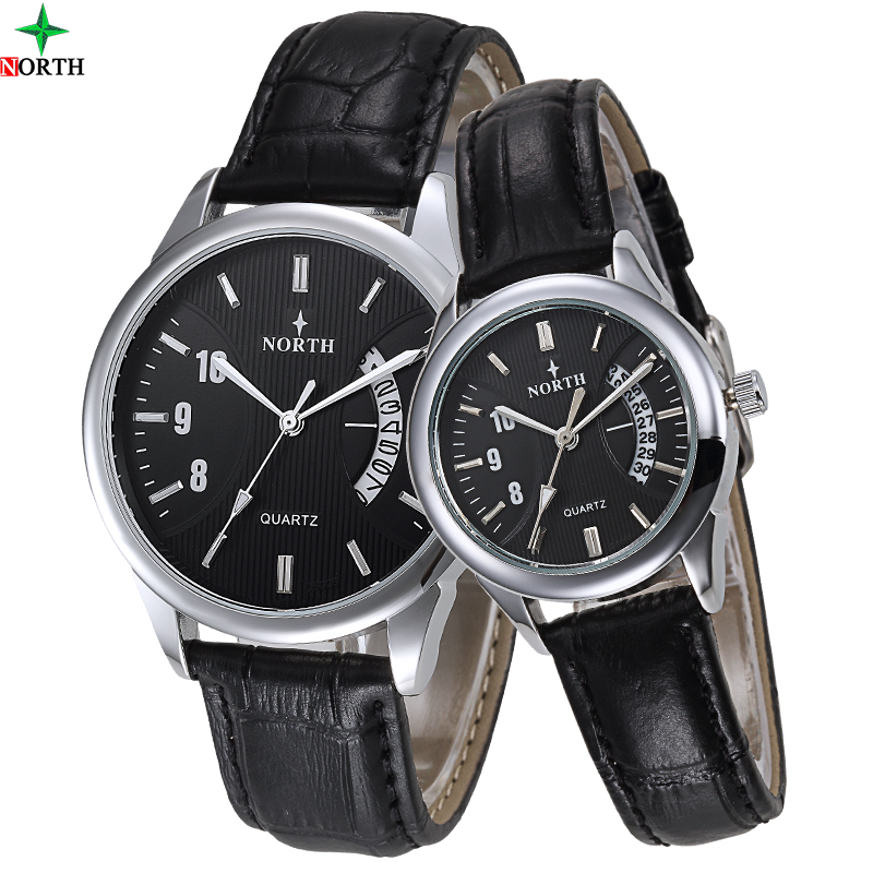 be67dcb292 Classical stylish romantic leather strap calendar quartz lover couple  watches