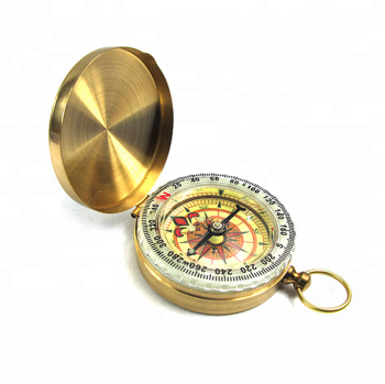 Light in dark brass Luminous compass , Glow In Dark Outdoor Hiking Portable Pocket Watch Metal Brass Compass With Lid