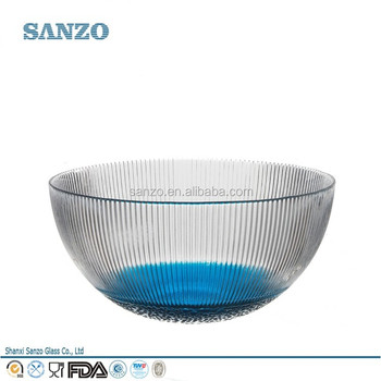 Modern/ Carved /Clear Blue Nice Flower Colored Decorative Glass Bowl