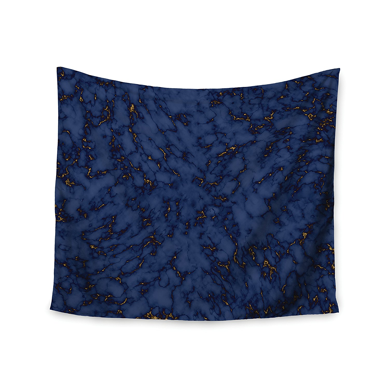 """KESS InHouse Will Wild """"Blue & Gold Marble"""" Navy Abstract Wall Tapestry, 51"""" X 60"""""""""""