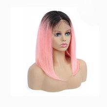 Короткие Синтетические волосы на кружеве человеческих волос парики для чернокожих Для женщин бразильский человеческих волос парик с детск...(Китай)