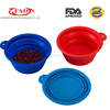 100% food grade silicone collapsible pet dog travel bowl