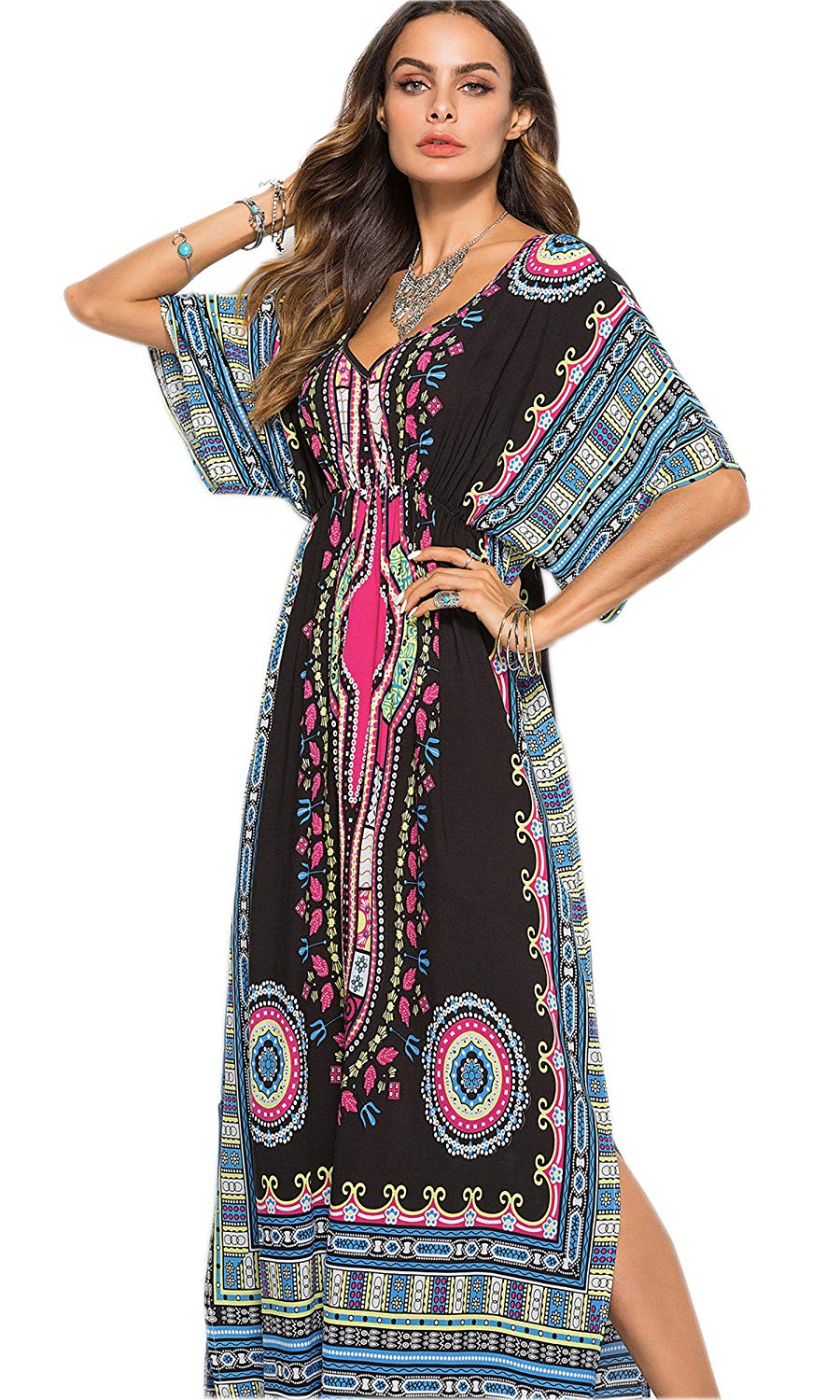 ab302ba562 Get Quotations · EPLAZA Women Long Kaftan Dress Hippy Boho Maxi Caftan  Tunic Dress Night Gown Free Size