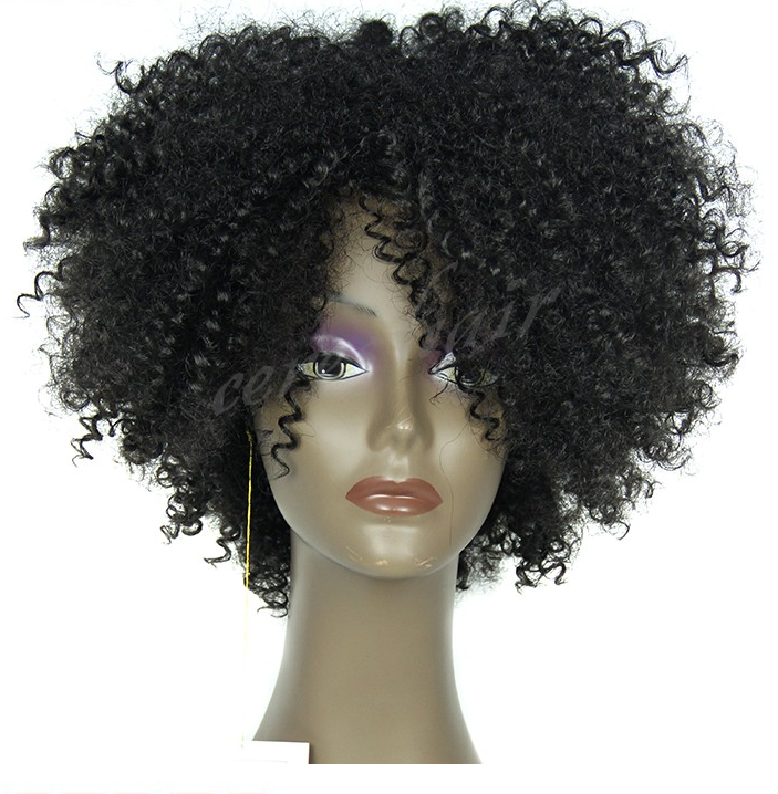 large stock wholesale price 100 high temperature fiber synthetic wig for black women kinky curly