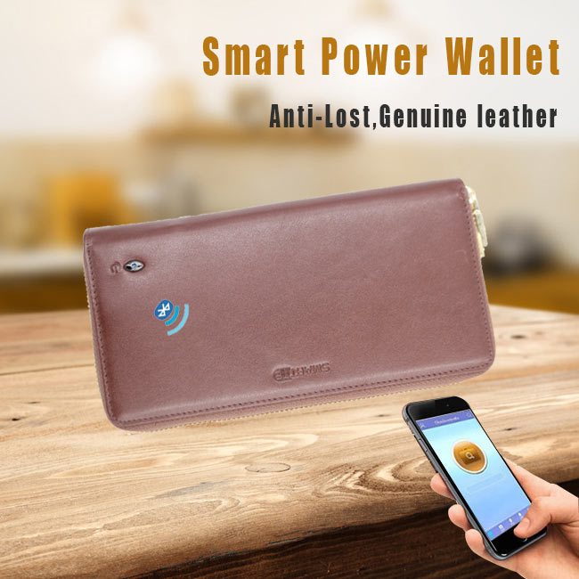 Long fashion security men's smartphone power bank clutch wallet with anti-theft alarm