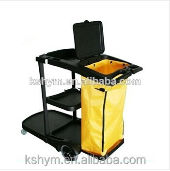 five star hotel high quality plastic yellow bag three layer Janitor Cart with cover housekeeping trolley