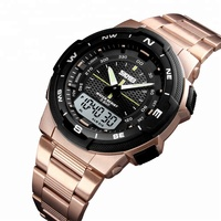 1370 skmei Watch high quality 2time zone digital clock stainless stain 6 colors waterproof sports military watch