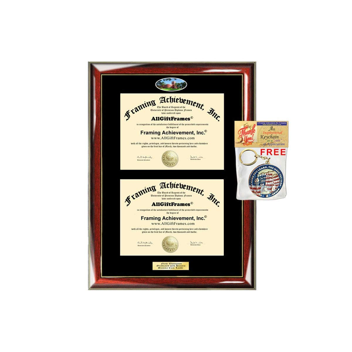 Double Diploma Frame Ohio Northern University ONU Dual Degree Holder Engraving Framing Two Certificate Holder Graduation Gift Bachelor Master MBA