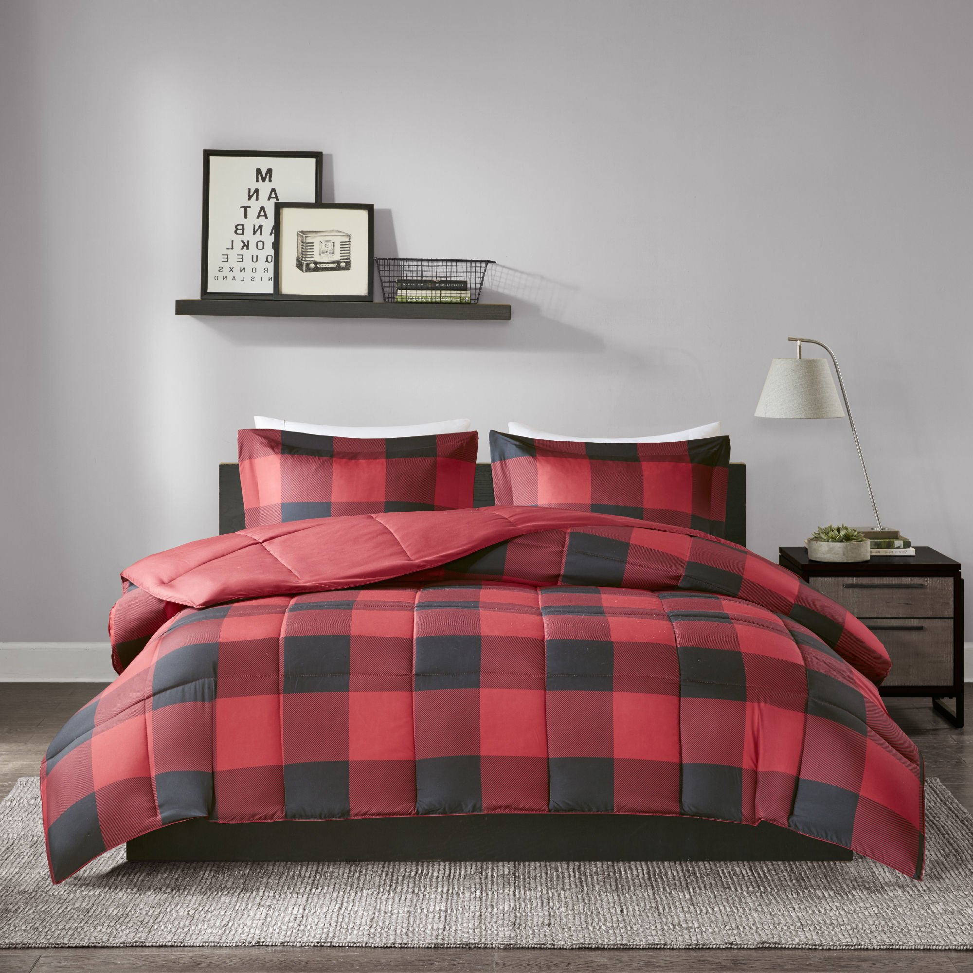 MPN 3 Piece Black Red Plaid Comforter Full Queen Set, Cabin Themed Bedding Lumberjack Pattern Squares Lodge Rustic Cottage Tartan Checkered Checked Lightweight, Microfiber