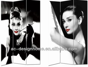Audrey Hepburn 3 Panel Canvaswooden Folding Screen Buy Audrey
