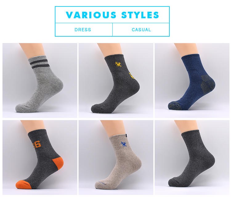 Wholesale Custom Running Outdoor Breathable Badminton Walking Bicycle Tennis Sports Long Men Socks