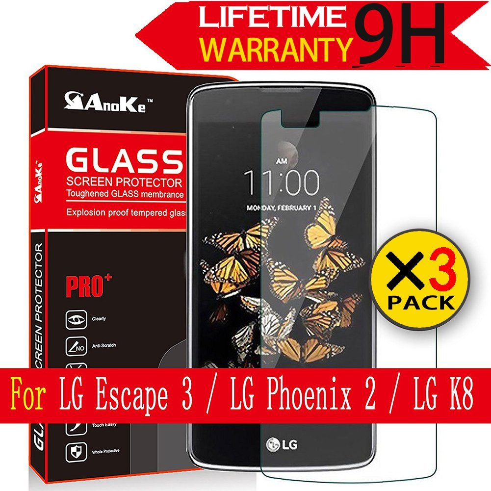 LG Escape 3/LG Phoenix 2/LG K8 Screen Protector(Not Fit K8v Verizon), [3 Pack]AnoKe[Tempered Glass][Case Friendly][0.3mm 9H 2.5D]Clear Screen Protector Film for LG K8 Glass - 3Pack