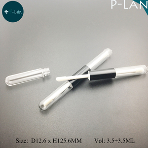 Double Ended Slim Plastic Lipgloss Tube With Brush