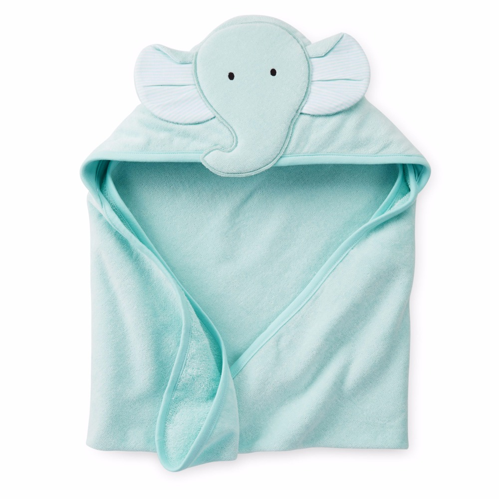Cute Hot Sale Emboidered Plain Dyed 100% Cotton Baby Elephant Hooded Towel