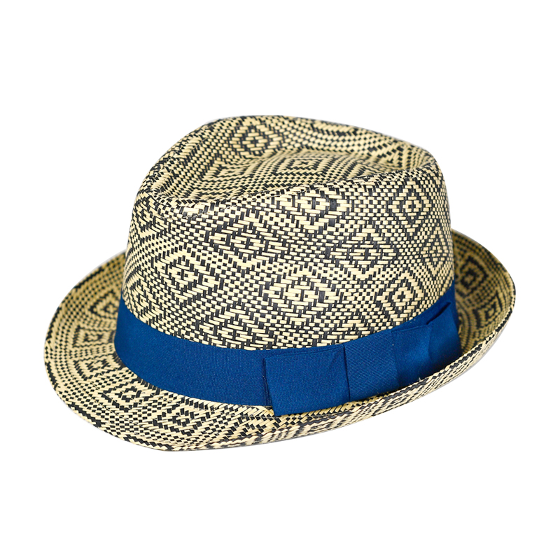 Summer Diamond-pattern Wholesale Paper Hat Fedora