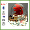 Ruby Red Dragon With Mystic White Unicorn And Castle In The Clouds Water Globe Sculptured Resin Water Ball Music Box