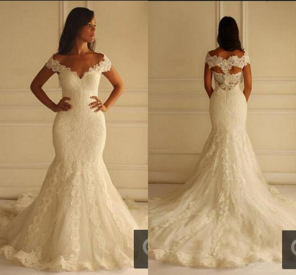Mermaid Wedding Dresses With Sleeves: Ivory Lace Mermaid Wedding Dresses 2016 Cap Sleeve Long