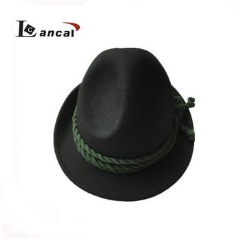 92737c943b819 Wholesale Ladies  Black 100% Wool Felt Fedora Mountain Hat with Plait Rope