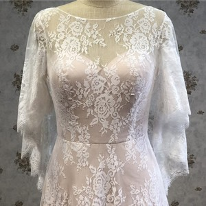 Romantic lovely sleeve 3d lace demountable long train princess wedding dress for bridal