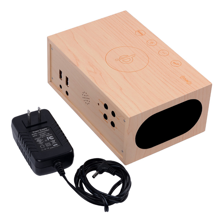 multi-function dual usb wood qi wireless charger speaker with clock