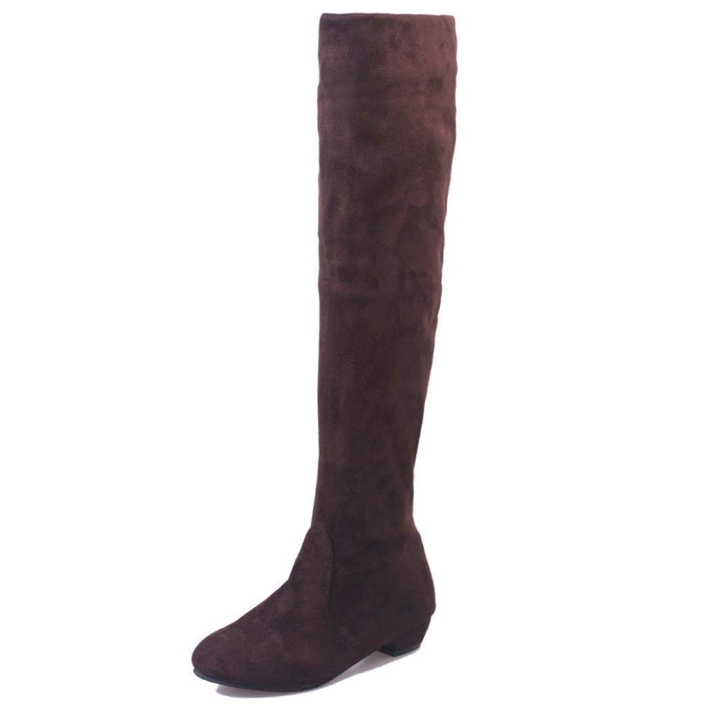 15c3774cf40 Get Quotations · Amiley Women s Over The Knee Slouchy Flat Boots Knee High  Low Heel Suede Shoes Thigh High